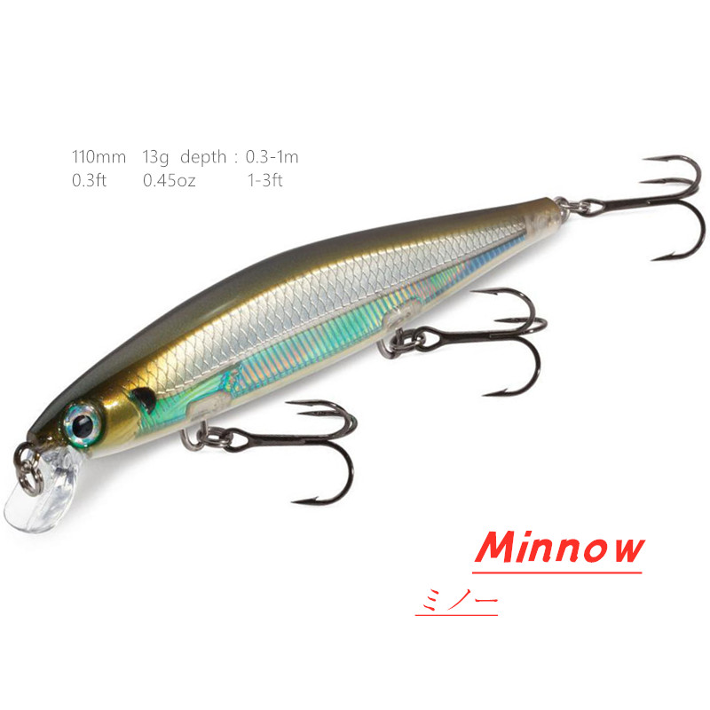 110mm 13g Swimbaits Slow Sinking On Pause Minnow Fishing Lure Bass Wobblers Hard Bait for Multi-Species Gamefish Like Finishes