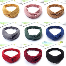2019 New Women Colorful Cotton Knot Headbands Female Hair Bands Elastic Fashion Stretch Headwraps Turban Ladies Accessories