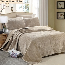 1 Pc Bed Cover 2 Pcs Pillowcases Banana Leaf Pattern Bedspread Quilting Jacquard Blanket Sheet B