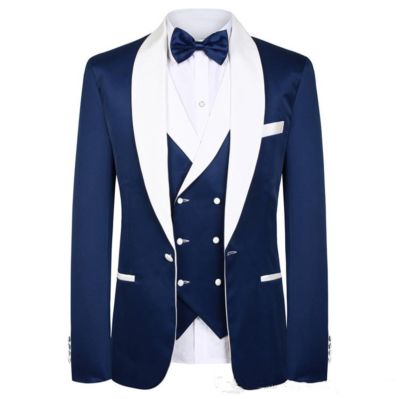 Blue Men Wedding Suits New Real Groomsmen White Shawl Lapel Groom Tuxedos Mens Tuxedo Wedding/Prom Suit 3 Pieces(Coat+Pant+Vest)