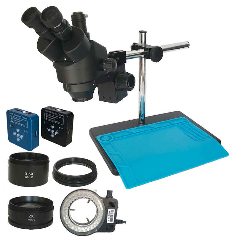 34MP Digital Hdmi Usb Microscopio Camera 3.5X-90X Simul-focal Trinocular Stereo Microscope Soldering Pcb Jewelry Repair Kit