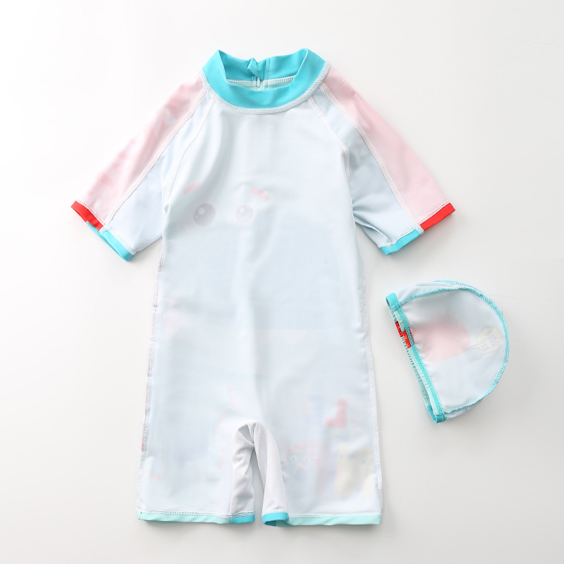KID'S Swimwear Boys' Cotton One-piece Swimsuit South Korea Dinosaur Hooded Swimwear Long Sleeve Beachwear Sun-resistant Hot Spri