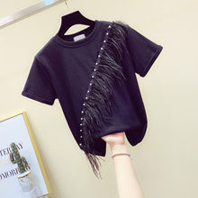 DEAT 2020 Summer Fashion Patchwork O Neck Beaded Feather Tassled Short Sleeve Simple Black White T-shirt Women Top SB186(China)