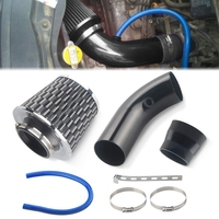 3 Inch Universal Aluminium Automotive Air Intake Kit Cold Air Intake PipeAir Filter Induction Flow Hose Pipe Kit (Black)|Filtros de separação de frequência|   -