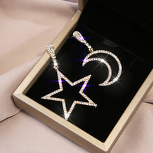 VAGZEB 2020 New Gold Silver Color AAA CZ Stone Moon Star Drop Earrings for Women Fashion Jewelry Korean Earrings star cz drop earrings