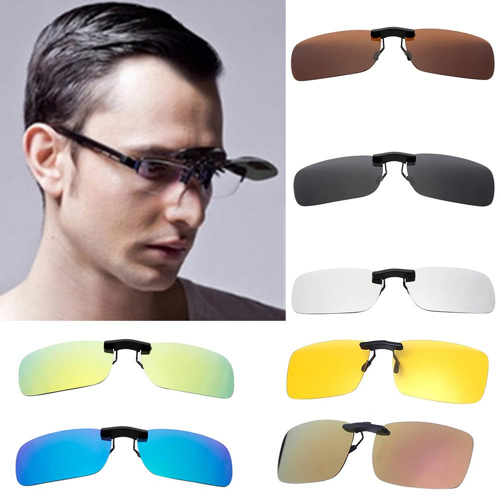 Men Polarized Clip On Sunglasses For Driving 2020 Night Vision Yellow Women Square Sun Glasses With Clips Unisex Clips