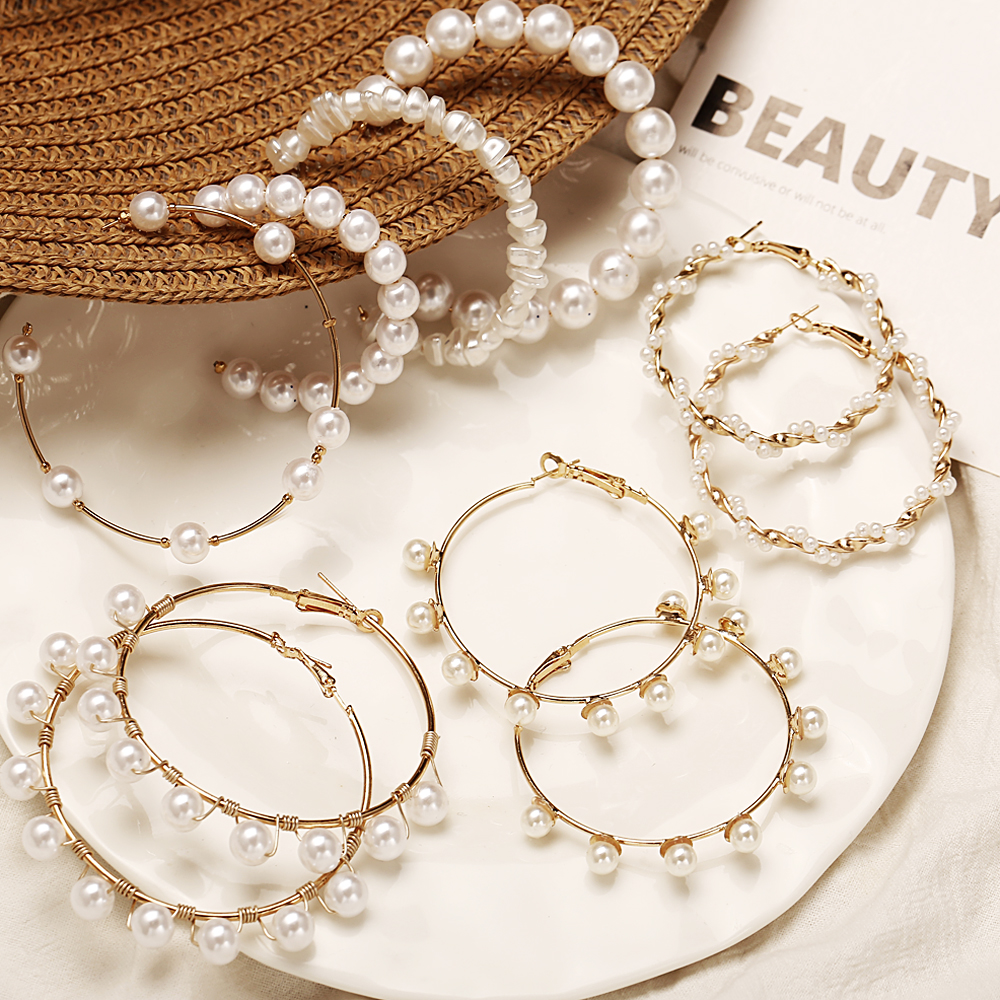 Simple Oversize Round Pearl Hoop Earrings For Women Trendy Circle Pattern Hanging Earring Statement Fashion Party Jewelry