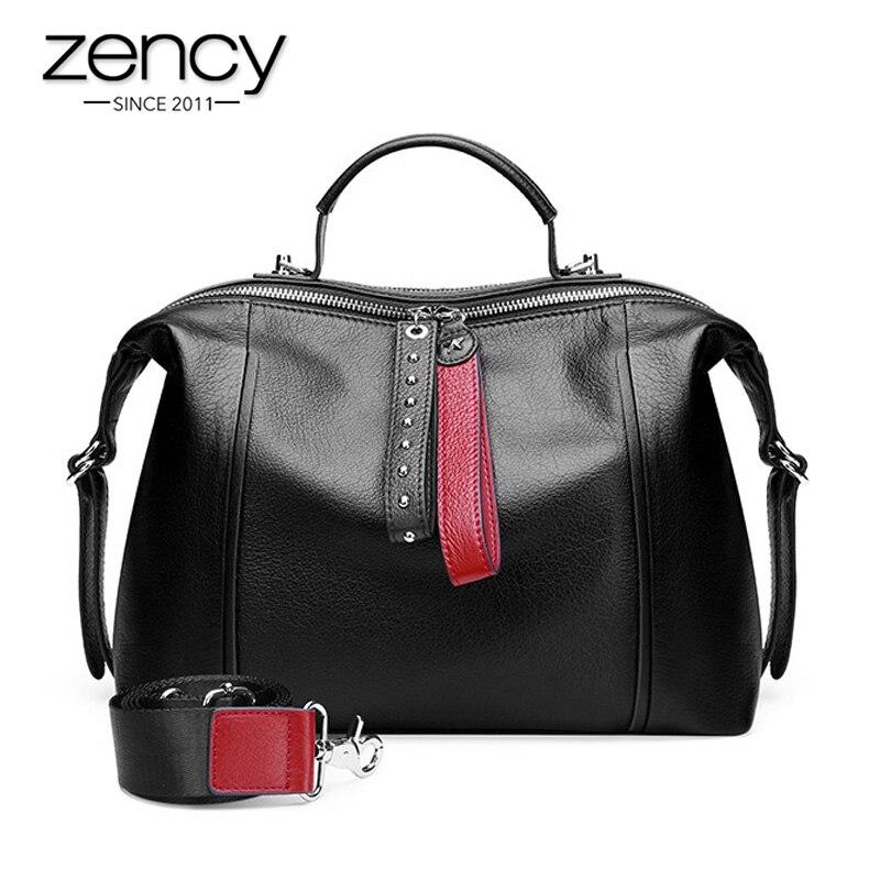 Zency 100% 정품 가죽 클래식 블랙 여성 핸드백 패션 영국 보스턴 가방 캐주얼 토트 레이디 숄더 메신저 백 리벳-에서탑 핸드백부터 수화물 & 가방 의  그룹 1