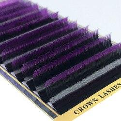 CrownLash 2 لهجة اللون أومبير الأرجواني C D-0.10 0.15 7-15 مللي متر المزدوج اللون الأرجواني نظام القبول لاش تمديد