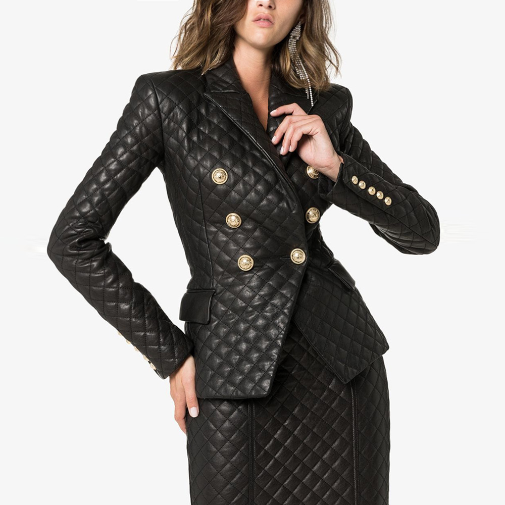 TOP QUALITY 2019 Newest Designer Jacket Women's Double Breasted Lion Buttons Grid Sewing Synthetic Leather Blazer