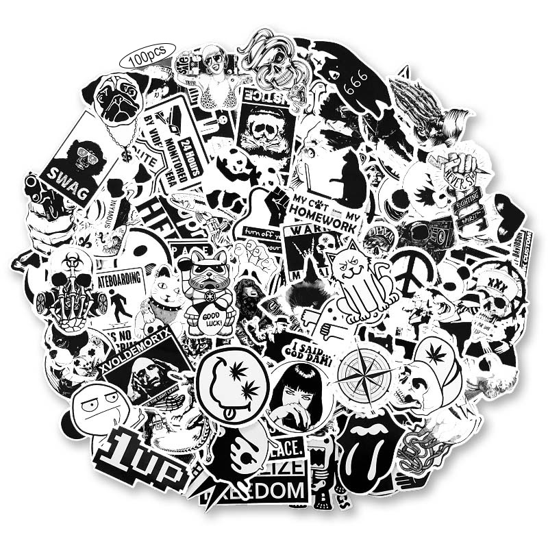 100pcs / Set Vintage Stickers Black And White DIY Stickers For Motorcycle Skull Stationery Scrapbook Sticker Luggage Sticker