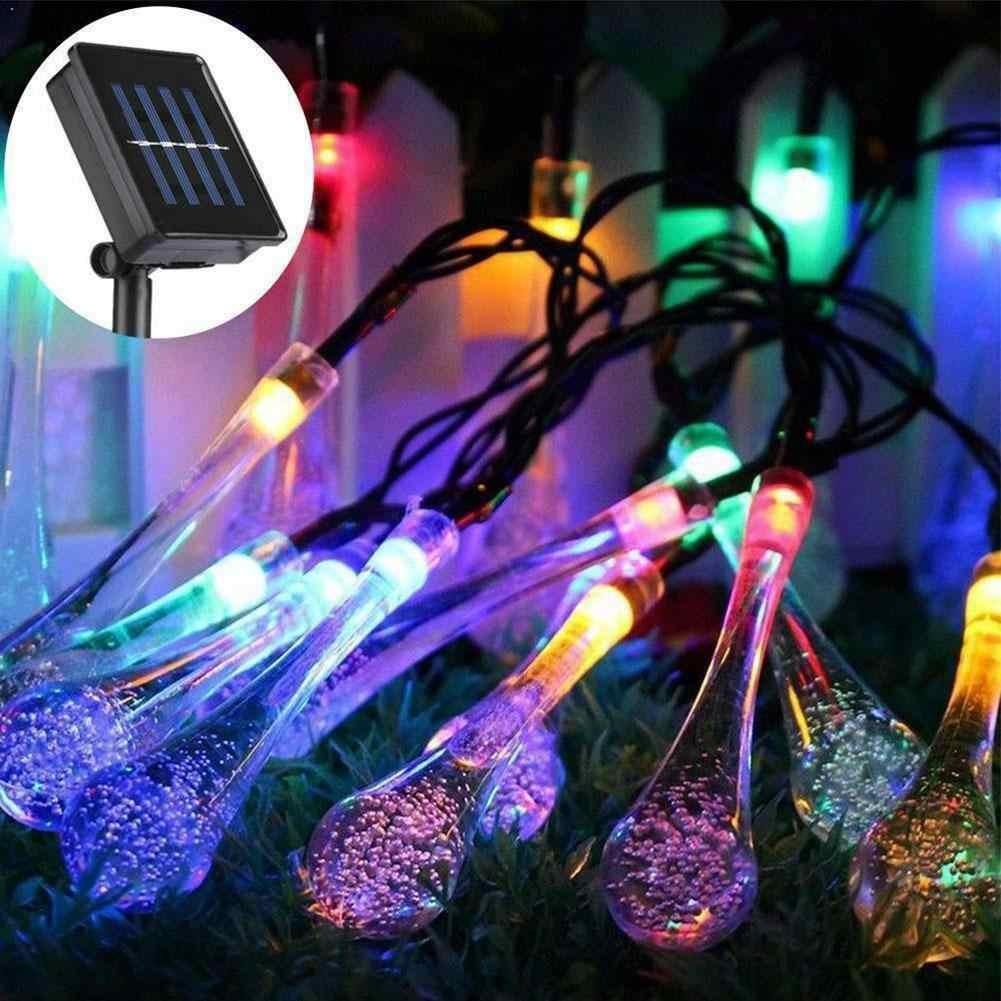 Jardim solar luzes da corda de fadas 30 led diy à prova ddiy água luz ao ar livre festa gota jardim natal luzes led corda q4x5