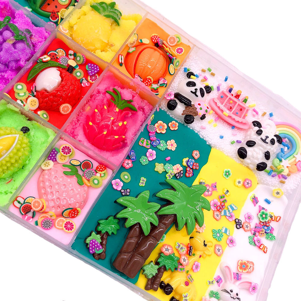 Hot Fluffy Slime Charms Accessories Cute DIY Cloud Rainbow Panda Flower Fruit Slime Kit Kids Children Students Educational Toys in Modeling Clay from Toys Hobbies