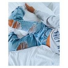 Брюки карго женские джинсы для мам рваные женщин мешковатые