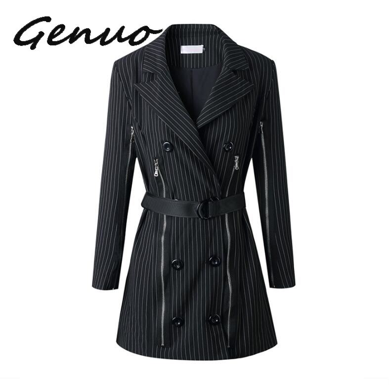 2019 Autumn Women Runway Suit Blazer Slim Striped Zipper Double Breasted Blazers Elegant Office Lady Suits Notched Jacket Coat