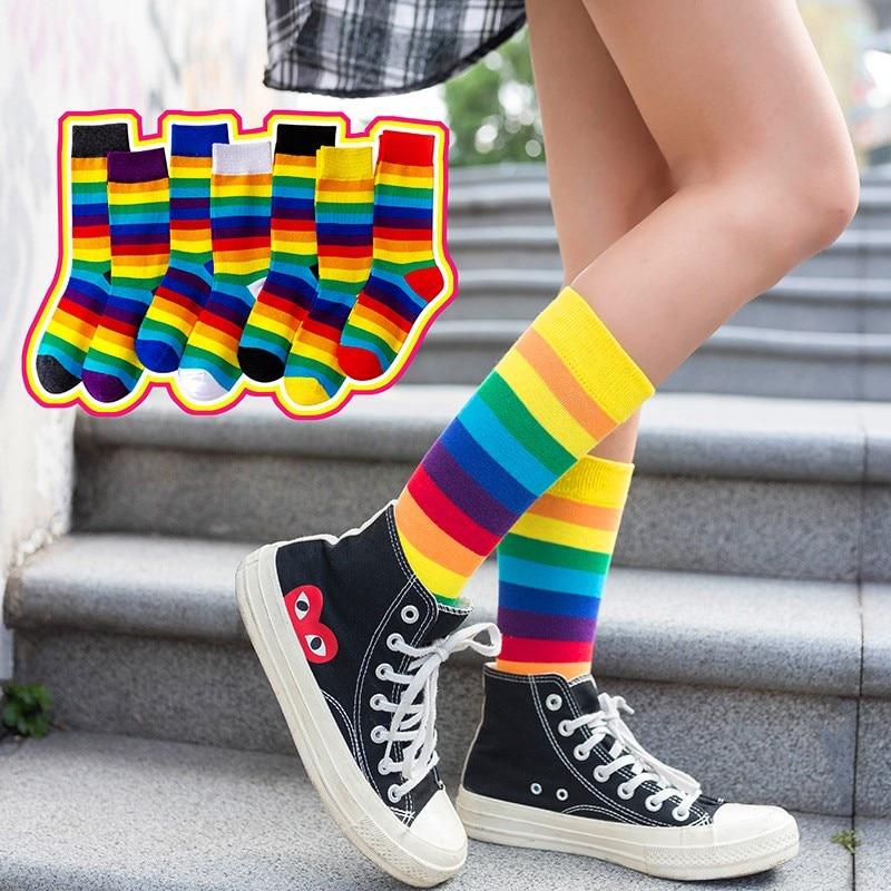 1 Pair New Arrival Cotton Elasticity Sweat Women Long Sock Candy Colors Rainbow Striped Sporty Meias Retro Harajuku Casual Socks