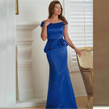 New Elegant Mermaid Royal Blue Cap Sleeves Mother of the Bride Dresses With Peplum Beaded Wedding Party Gowns Full Length