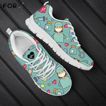 FORUDESIGNS Life Saver Womens Nurse/Doctor Sneakers Flats Casual Comfortable Breathable Mesh Shoes for Ladies Nurse Shoes Woman