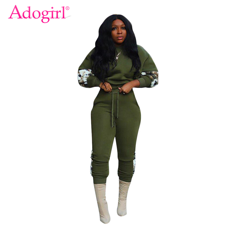 Adogirl Fleece Camo Patchwork Women Casual Two Piece Set Long Sleeve Loose Crop Top Sweatshirt Pants Female Tracksuit Sportswear