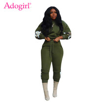 Adogirl Fleece Camo Patchwork Women Casual Two Piece Set Long Sleeve Loose Crop Top Sweatshirt Pants Female Tracksuit Sportswear(China)