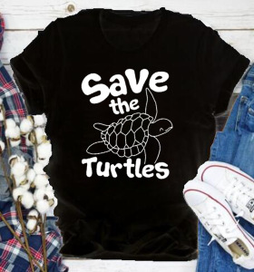 Save the Turtles Print Women T Shirt Short Sleeve O Neck Loose Women Tshirt Ladies Fashion Tee Shirt Tops Clothes Mujer