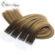 HiArt 2г/PC Лента в расширениях человеческих волос салон дважды обращается европейский волосы прямые расширение клей выметание 18