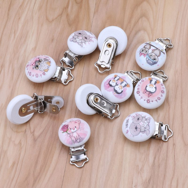 5pcs Metal Wooden Baby Pacifier Clips Cartton Mixed Pattern Holders Cute Infant Soother Clasps Holders Funny Accessories