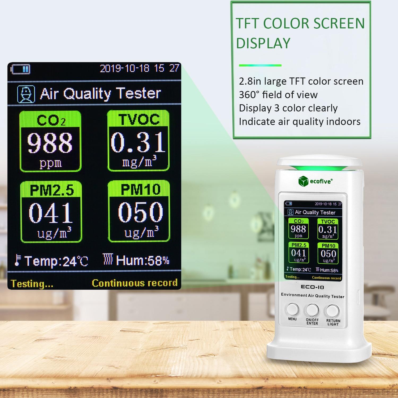 Kacsoo Probador de calidad del aire CO2 ppm Detector de di/óxido de carbono Analizador de gas Azul Monitor de calidad del aire port/átil Probador preciso para medidores de HCHO//TVOC