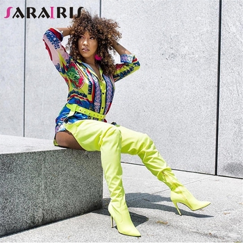 SARAIRIS Brand New Rihanna Shoes Women High Heels Thigh High Over The Knee Boots Wide Top Sexy Extreme Long Crotch Boots Woman
