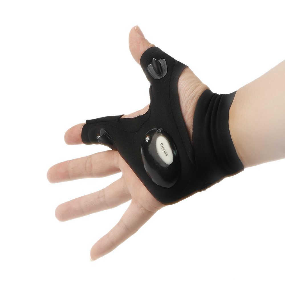 Outdoor Hunting Night Fishing Camping LED Flashlight Torch Fingerless Gloves