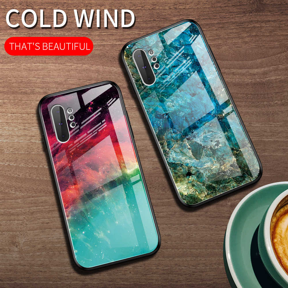 Eqvvol Gradien Tempered Glass Case untuk Samsung Galaxy S10 S9 Plus A7 A50 A70 M30 Catatan 9 10 Pro Berbintang sky Cover Kasus Warna