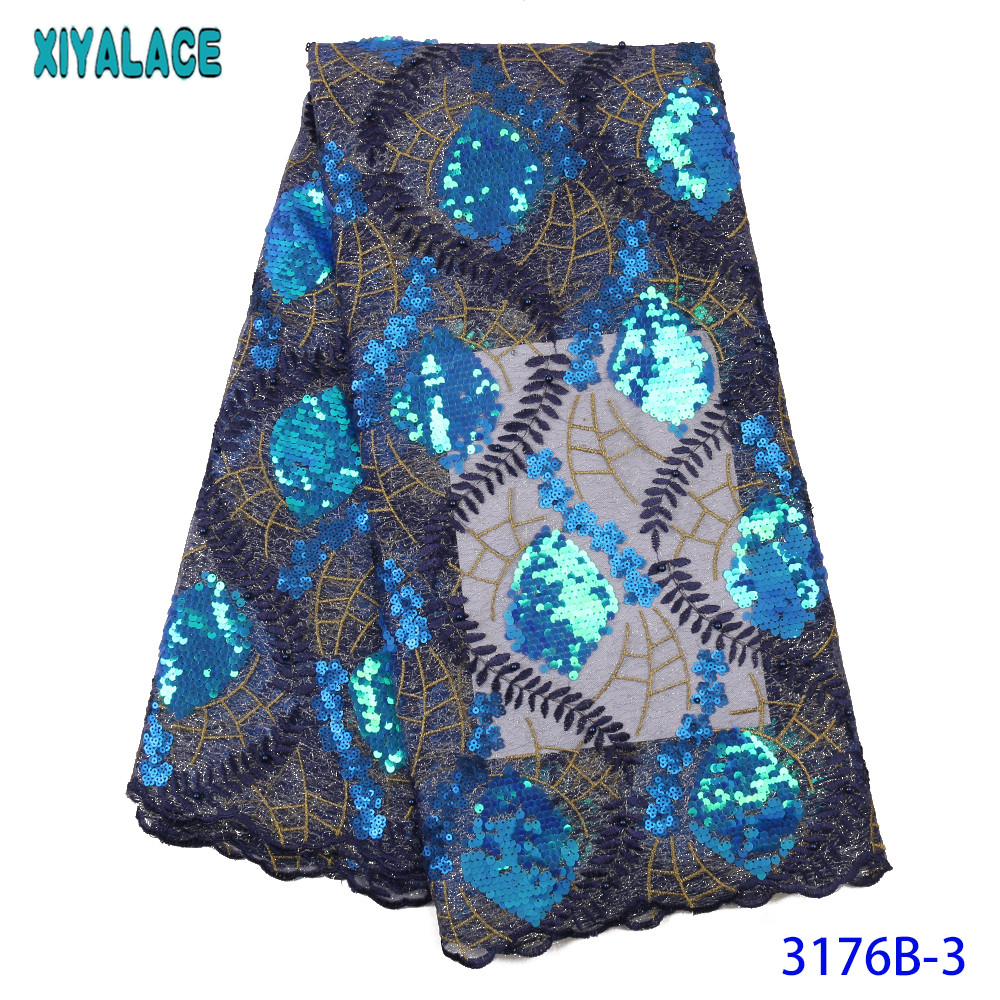 2020 Latest French Nigerian Lace Fabrics High Quality Tulle African Lace Fabric With Beads Sequins For Wedding Dress KS3176B
