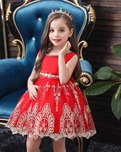 Red Embroidery Princess Dress for Halloween Children Clothes Teen Girls Ball Gown Dresses Kids Costume for Christmas Party New girls princess flowers ball gown weddings dress party princess dress kids clothes girls dresses for christmas new year custumes