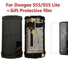 Película protetora + Original DOOGEE S55/S55 Lite IP68 Telefone Display LCD Assembléia Com Frame + Painel De Toque de Tela reparação digitador