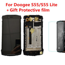 Protective Film+Original DOOGEE S55/S55 Lite IP68 Phone LCD Assembly Display With Frame + Touch Screen Panel Digitizer Repair