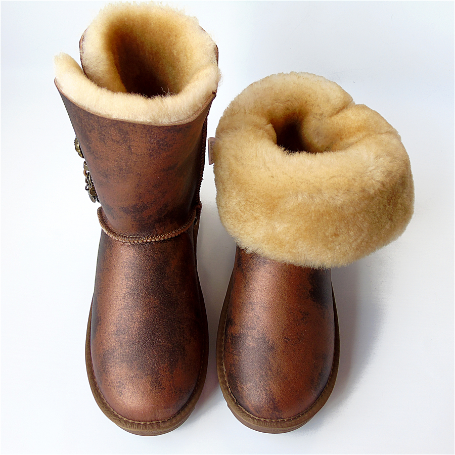 Brand Women Snow Boots Genuine Sheepskin Learher Boots Matel Button Tassel Wool Snow Boots Winter Flat Waterproof Sheep Shoes-in Mid-Calf Boots from Shoes    1