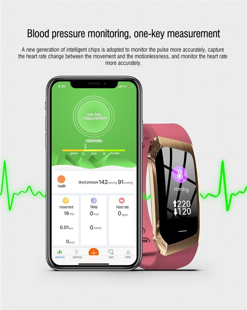 H28542a35b04b4c6e931c2b677575f40eY E18 Smart Bracelet Blood Pressure Heart Rate Monitor Fitness Activity Tracker smart watch Waterproof Men Women Sport wrist band