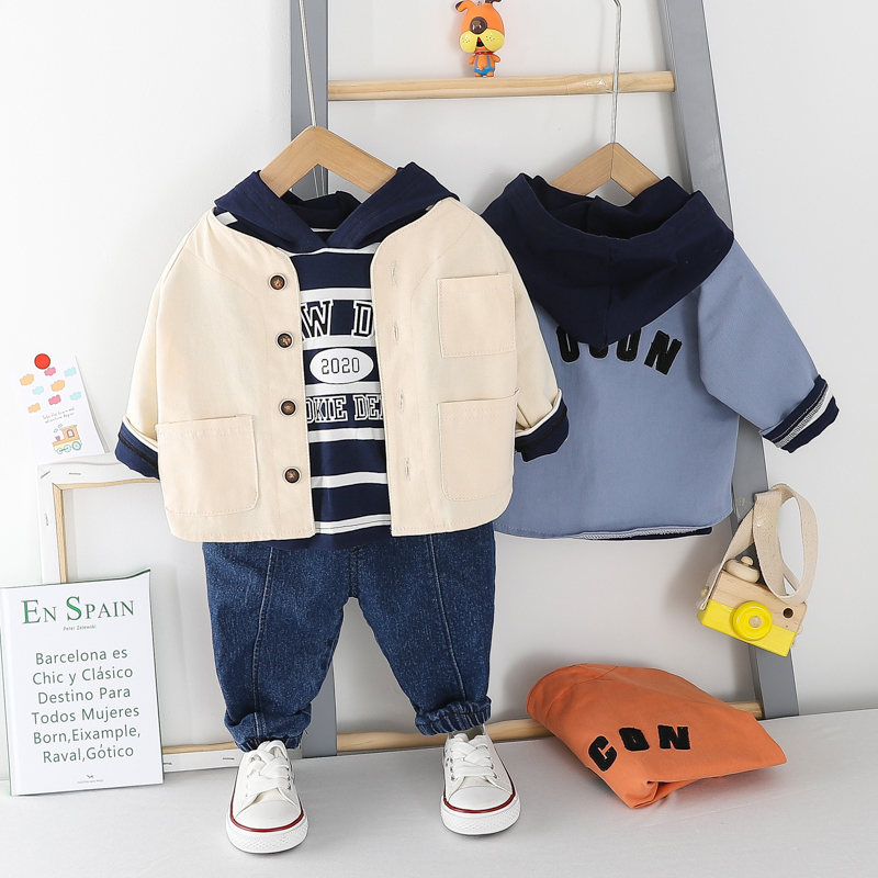 HYLKIDHUOSE Toddler Infant Clothing Sets 2020 Spring Baby Boys Casual Clothes Stripe Hooded T Shirt Coats Jeans 3-piece Set