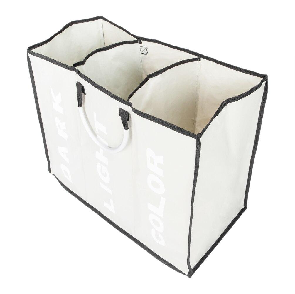 Portable Three Lattice Large Capacity Laundry Basket Light Gray Laundry Basket For Home Storage Holder