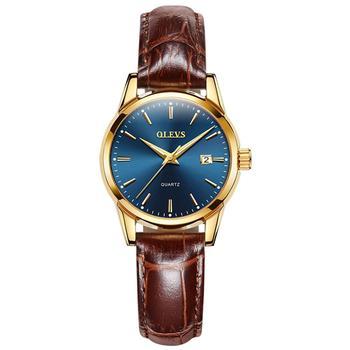 OLEVS Top Brand Quartz Women Watches Waterproof Leather Strap Fashion Women Watch Date Clock 9