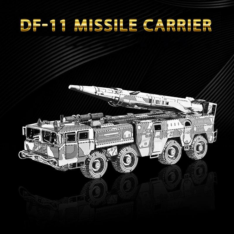 3D Puzzle Metal Model Kit DF-11 MISSILE CARRIER Assembly DIY 3D Laser Cut Toys Prefabricated Puzzle Models Toys For Adults