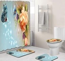 4pcs Flowers Style Non Slip Toilet Polyester Cover Mat Set Bathroom Shower Curtain Decor Washable Non-slip Modern