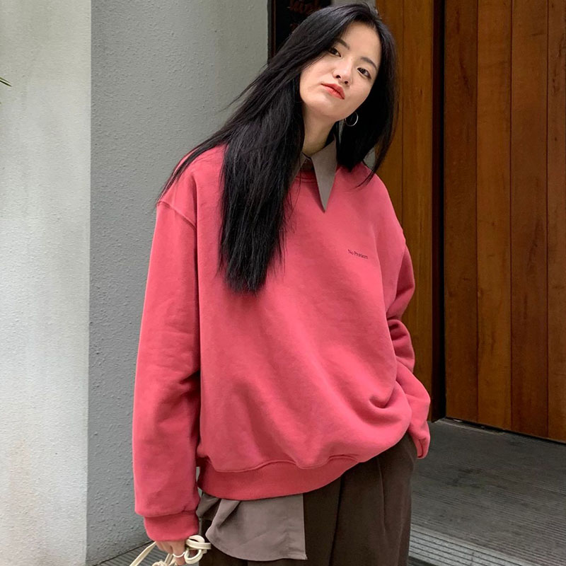 2020 New Fashion Loose Solid Warm Women Hoodies Casual Long Sleeve Cotton O-Neck Sweatshirt Korean All-match Femmes Coat 1