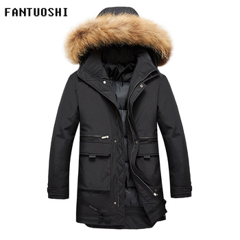 Hot sale Winter Long Parkas Men Cotton Padded Fashion Casual Slim Thick Warm Mens Coats Detachable cap jacket Male plus size 4XL