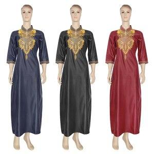 Image 1 - MD רקום פרח אפריקאי שמלות לנשים 2020 Bazin Riche דרום אפריקה בגדי גבירותיי שמלות אנקרה דאשיקי חלוק Boubou