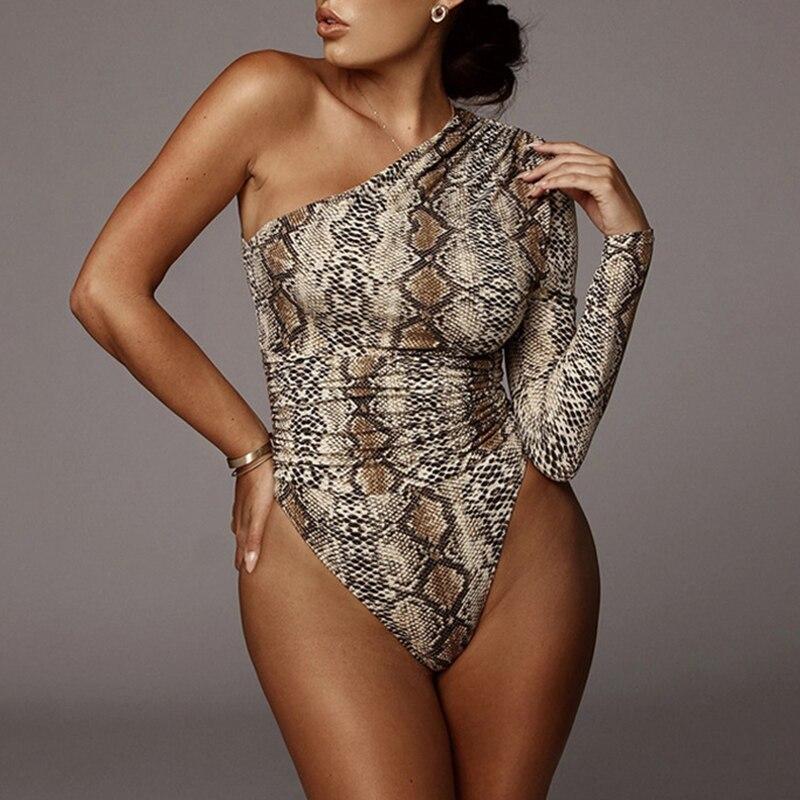 Ladies Leopard Cold Cut Shoulder Bodysuit Top Womens Long Sleeve Bodysuit