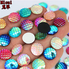 200pcs 12mm AB Color Round Resin Rhinestone Fish Scale Flatback Crystal Sew On Stones  For clothing Crafts Decorations DIY ZZ623