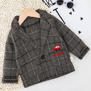 Image 4 - Çocuk giysileri erkek bebek ekose takım elbise seti 2020 moda 3 adet güz kostüm erkek ceket + T gömlek + pantolon giyim 1 2 3 4 Y