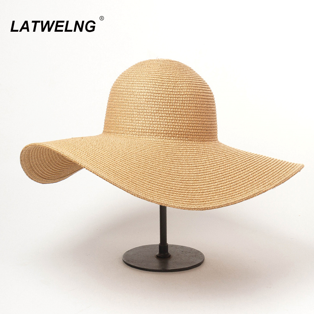 8 Colors Foldable Wide Brim Beach Hat Sunscreen Hats Women Vacation Straw Sun Cap With UV Wholesale