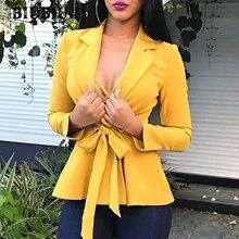 BIUBIU Sexy Deep V Women Tops And Blouses 2019 Long Sleeve Wrap Shirt Streetwear Club Yellow Coats blusones de mujer largos